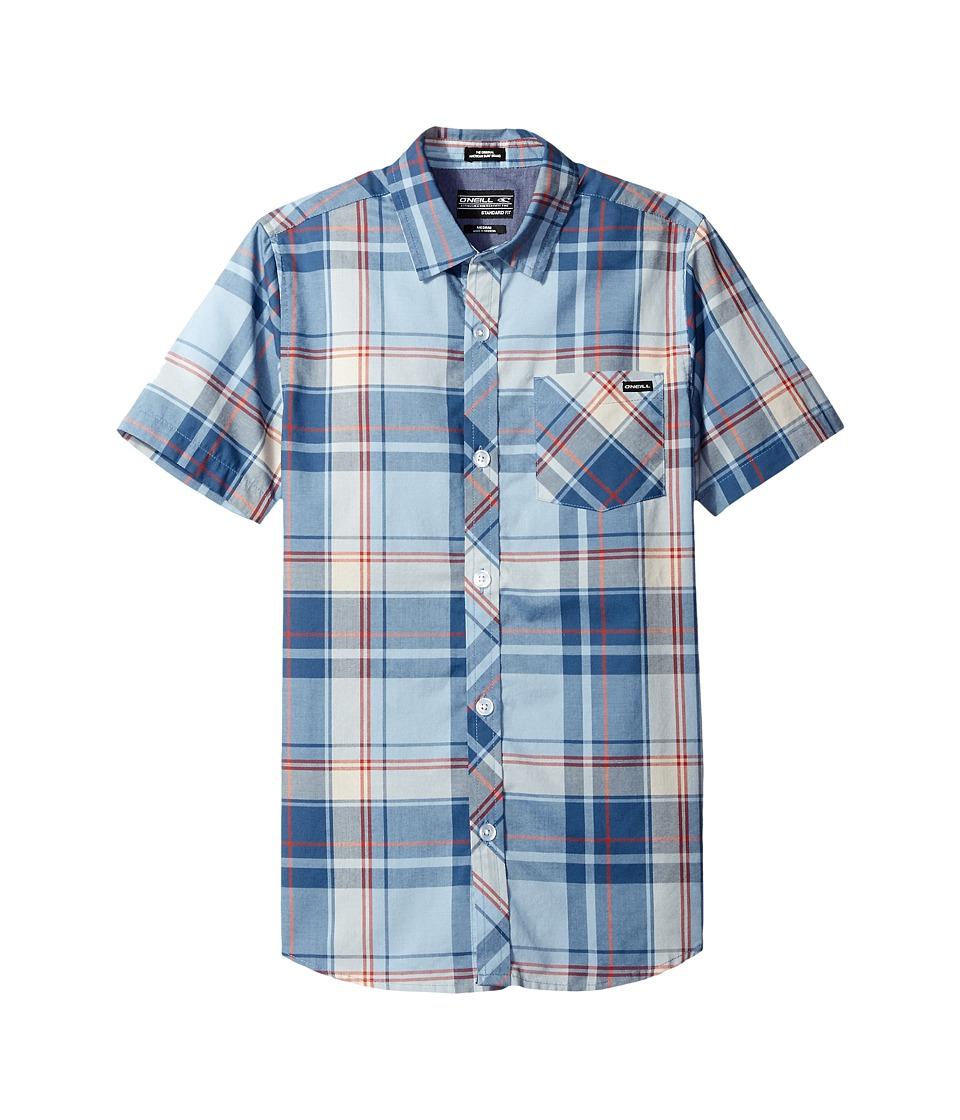 O'Neill Kids - O'Neill Plaid Short Sleeve Woven Shirt (Big Kids) (Light Blue) Boy's Short Sleeve Button Up