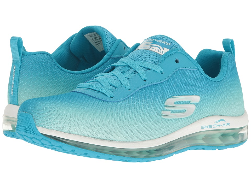 SKECHERS - Ombre Mesh Lace-Up w/ Air Cool (Blue/Mint) Women's Shoes