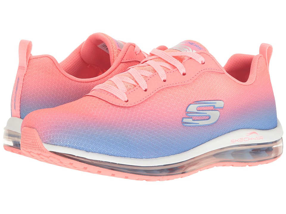 SKECHERS - Ombre Mesh Lace-Up w/ Air Cool (Pink/Blue) Women's Shoes