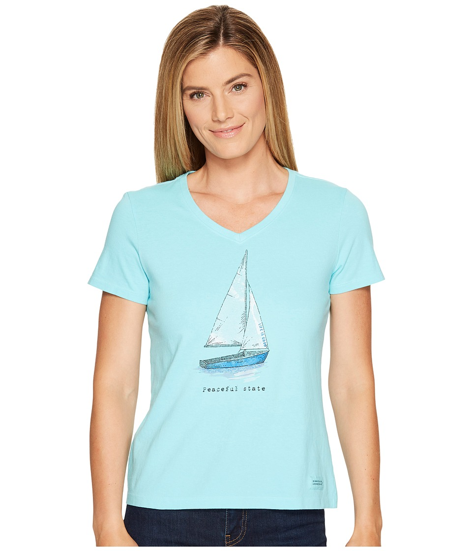 Life is Good - Peaceful Sailboat Crusher Vee (Fresh Blue) Women's T Shirt