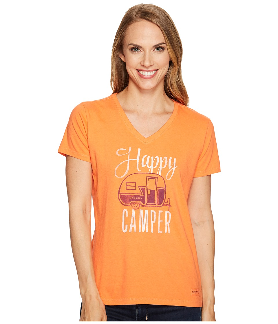 Life is Good Happy Camper Crusher Vee (Tropical Orange) Women