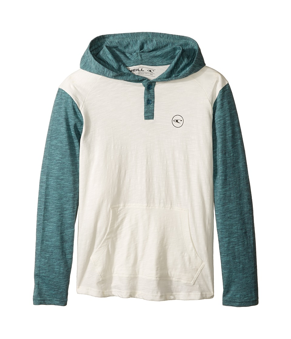 O'Neill Kids - The Bay Hooded Knit Henley Top (Big Kids) (White) Boy's Sweatshirt