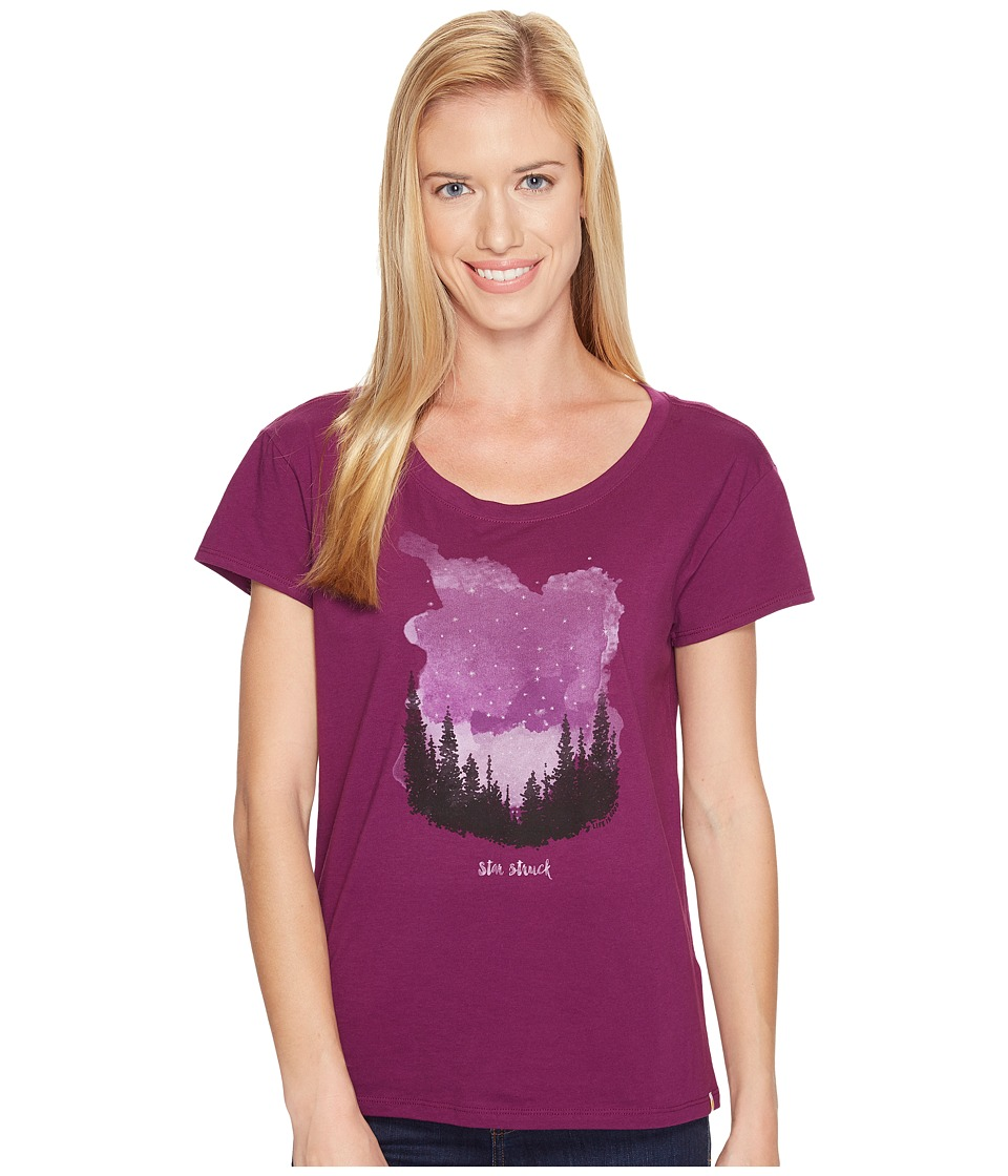 Life is Good Star Struck Breezy Tee (Deep Plum) Women