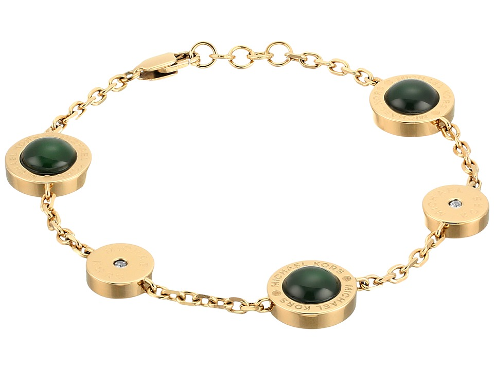 Michael Kors - Logo Mother-of-Pearl Station Bracelet (Gold/Green) Bracelet