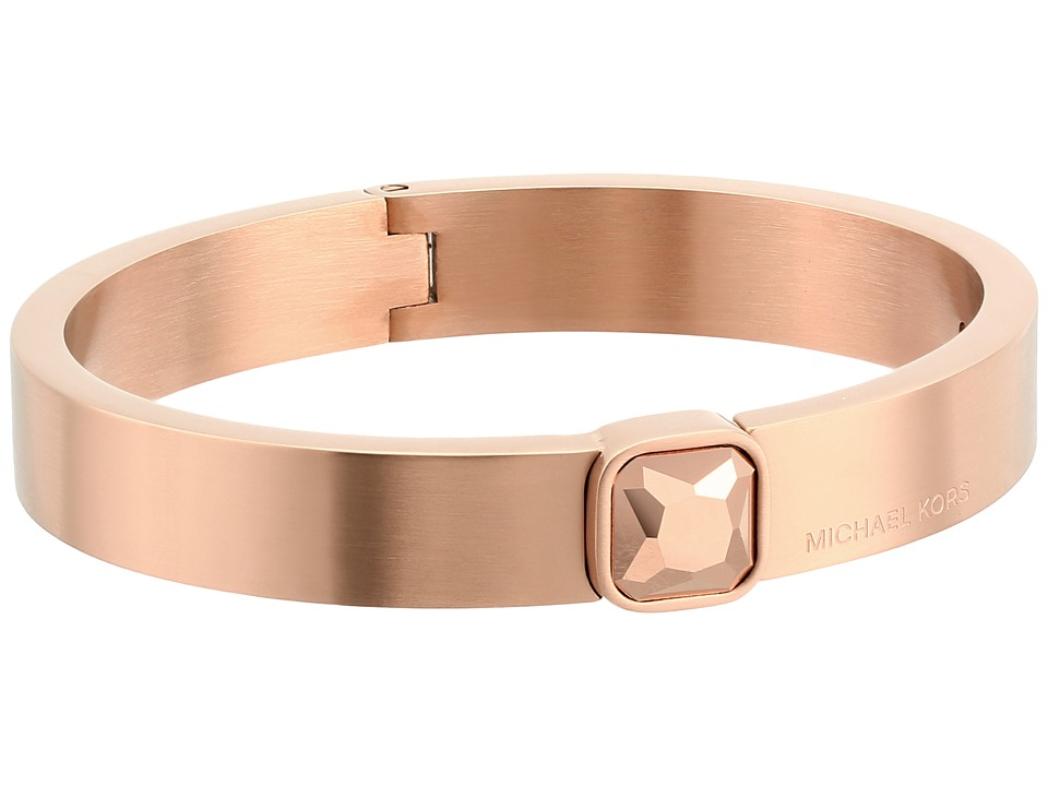 Michael Kors - Urban Rush CZ Hinged Bangle Bracelet (Rose Gold) Bracelet