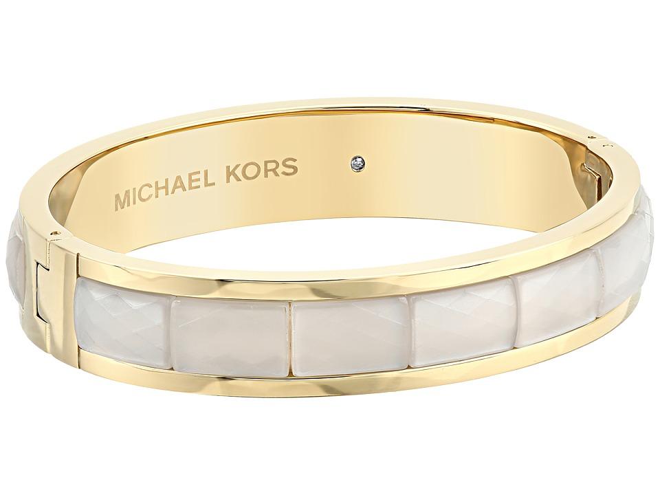 Michael Kors - Faceted Acetate Hinged Bangle (Gold) Bracelet