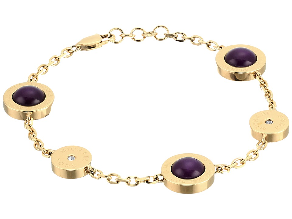 Michael Kors - Logo Mother-of-Pearl Station Bracelet (Gold/Eggplant) Bracelet
