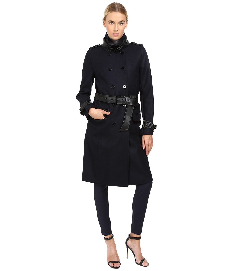 The Kooples - Long Belted Trench Coat (Dark Navy) Women's Coat