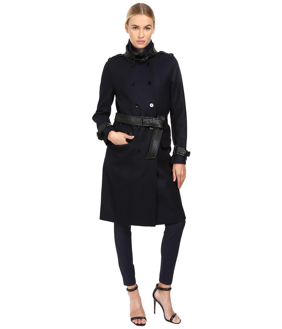 The Kooples - Long Belted Trench Coat (Dark Navy) Women's Coat