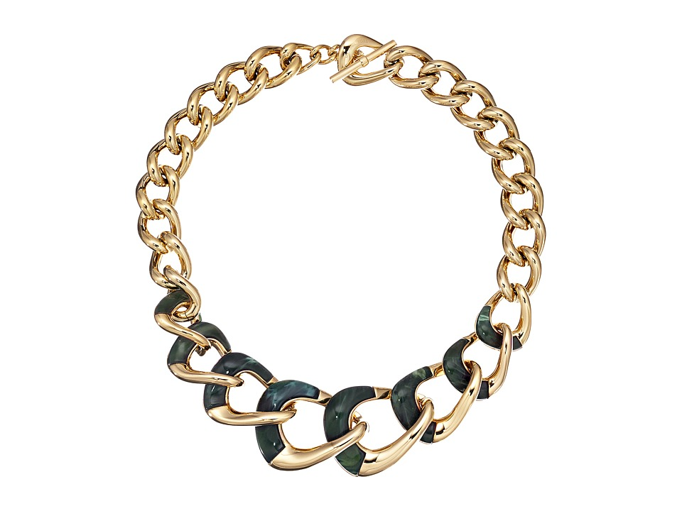 Michael Kors - Autumn Luxe Acetate and Stainless Steel Curb-Link Statement Necklace (Gold/Green) Necklace