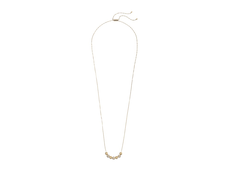 Michael Kors - Brilliance Pave Beaded Adjustable Slider Necklace (Gold) Necklace
