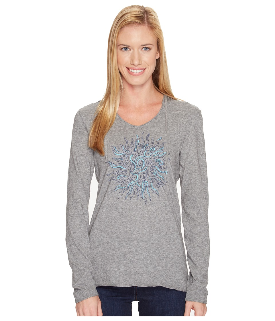Life is Good Sun Long Sleeve Hooded Smooth Tee (Heather Gray) Women