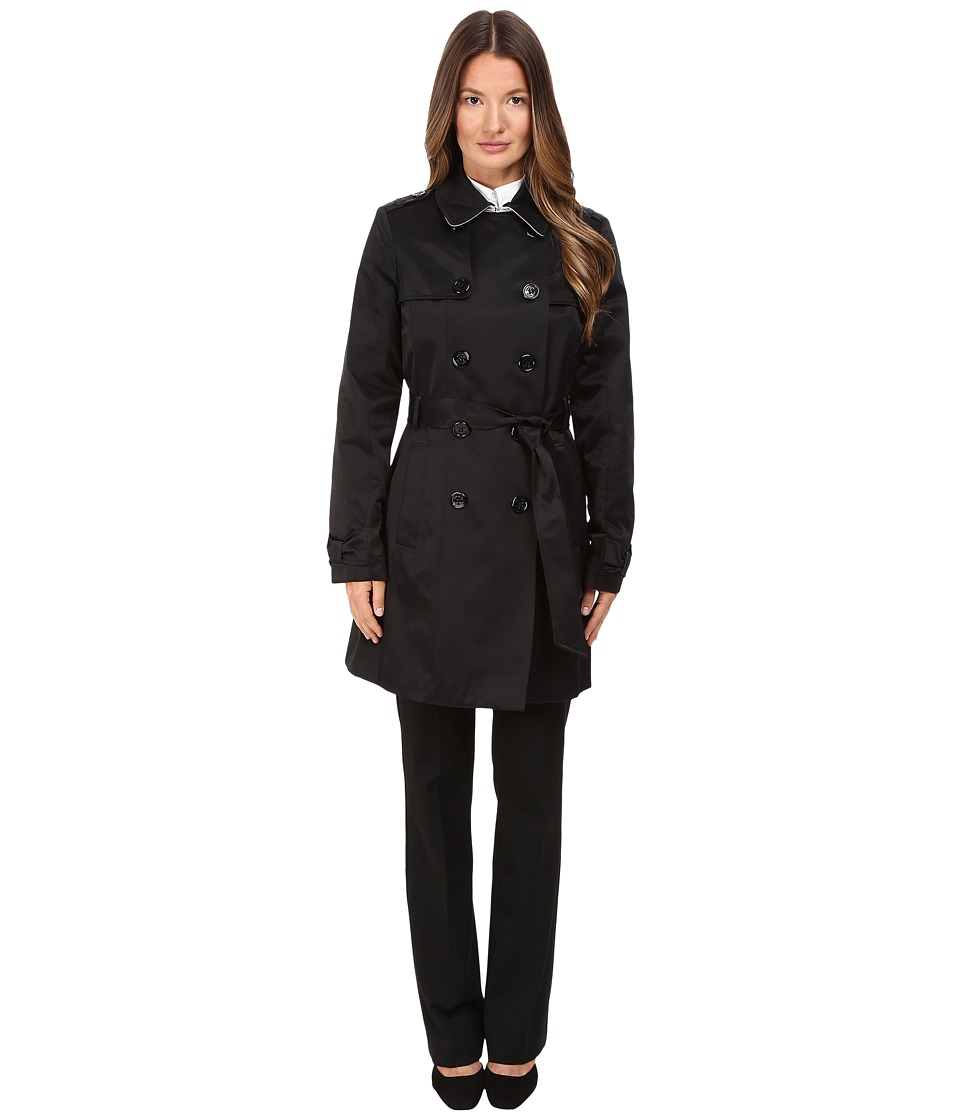 Kate Spade New York - Waist Belt Raincoat 34 (Black/Loden) Women's Coat