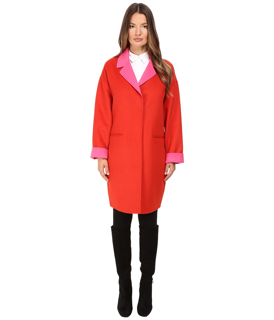 Kate Spade New York - Single Breasted Hidden Button Peacoat 36 (Lollipop Red/Pink Swirl) Women's Coat