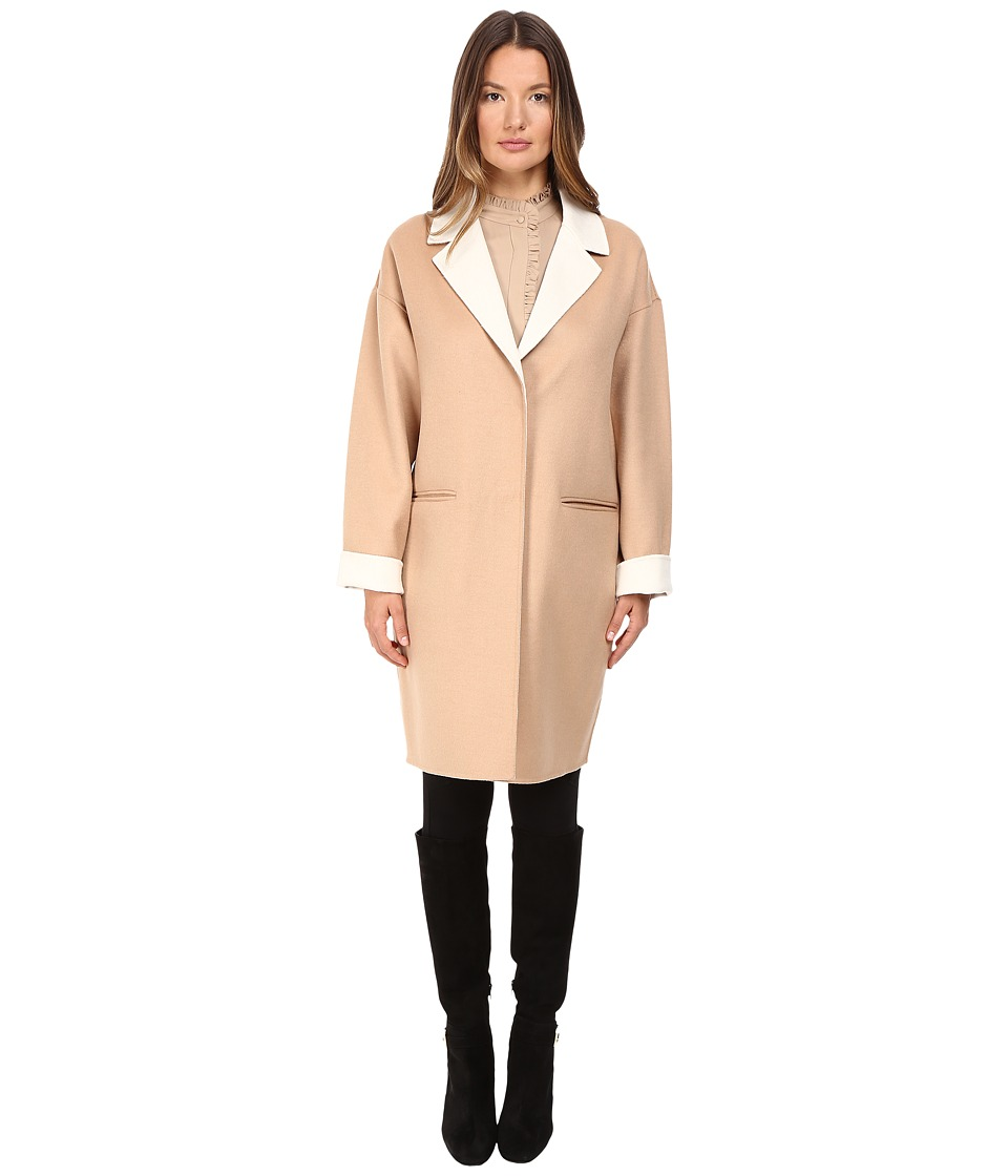 Kate Spade New York - Single Breasted Hidden Button Peacoat 36 (Camel/Cream) Women's Coat