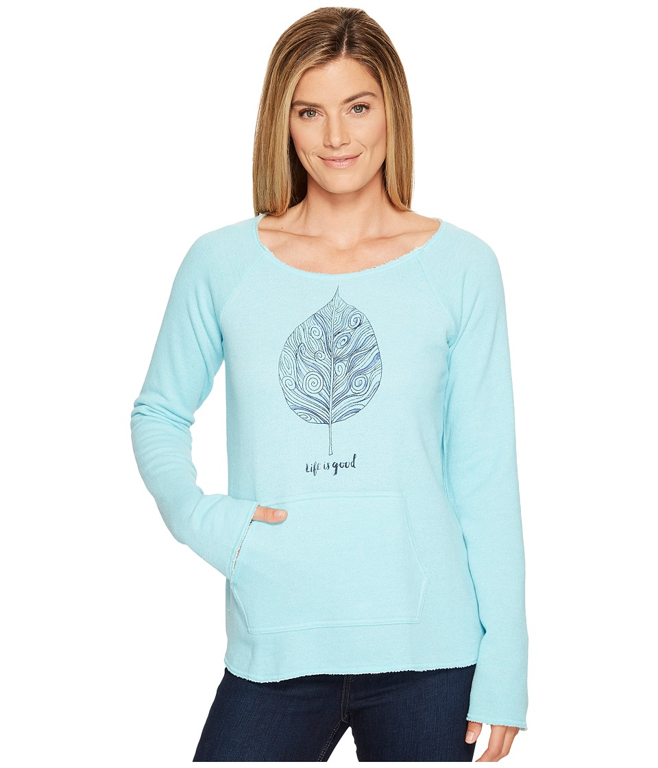 Life is Good - Leaf Beachy Pullover (Fresh Blue) Women's Sweatshirt