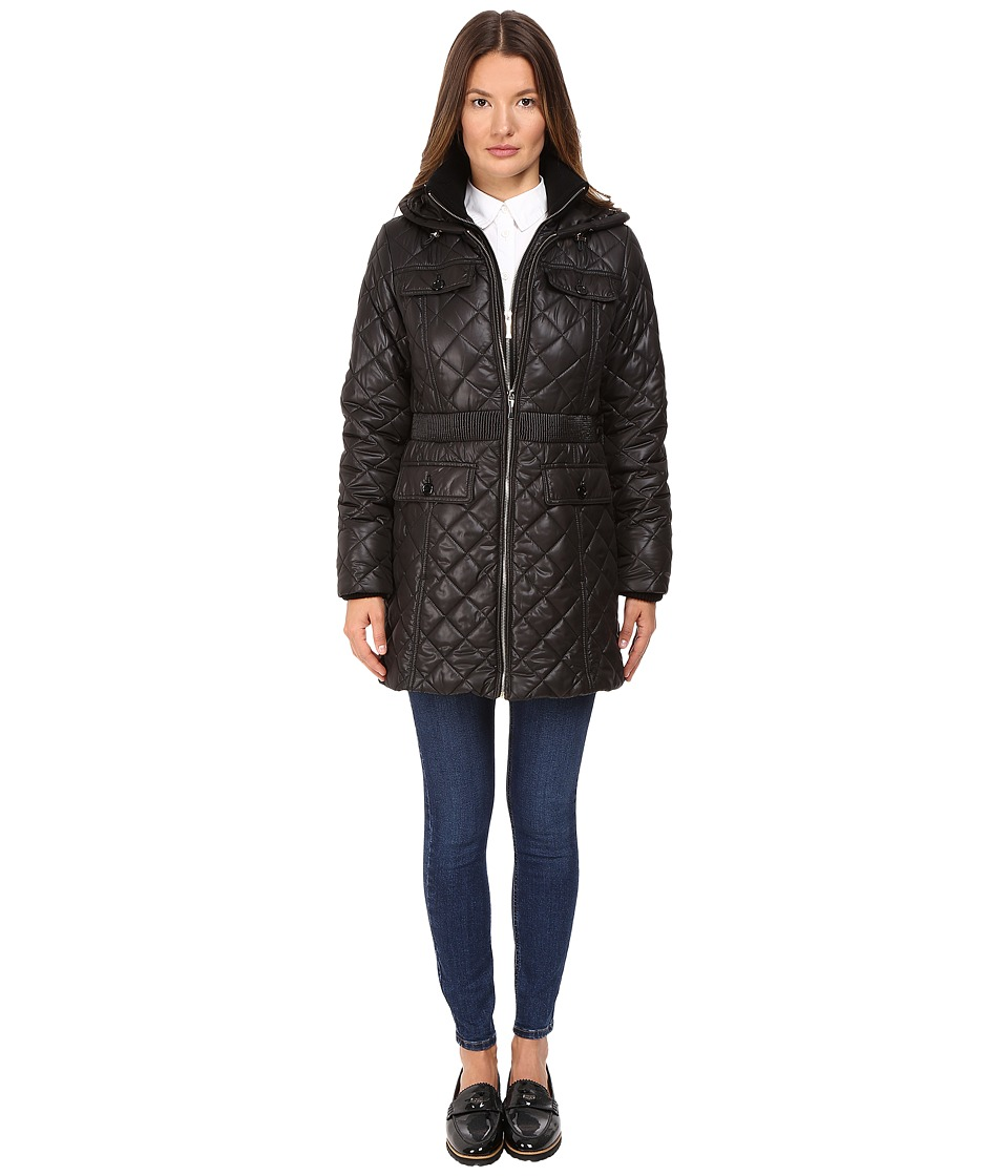 Kate Spade New York - Fitted Quilted 32 w/ Hood (Black) Women's Coat