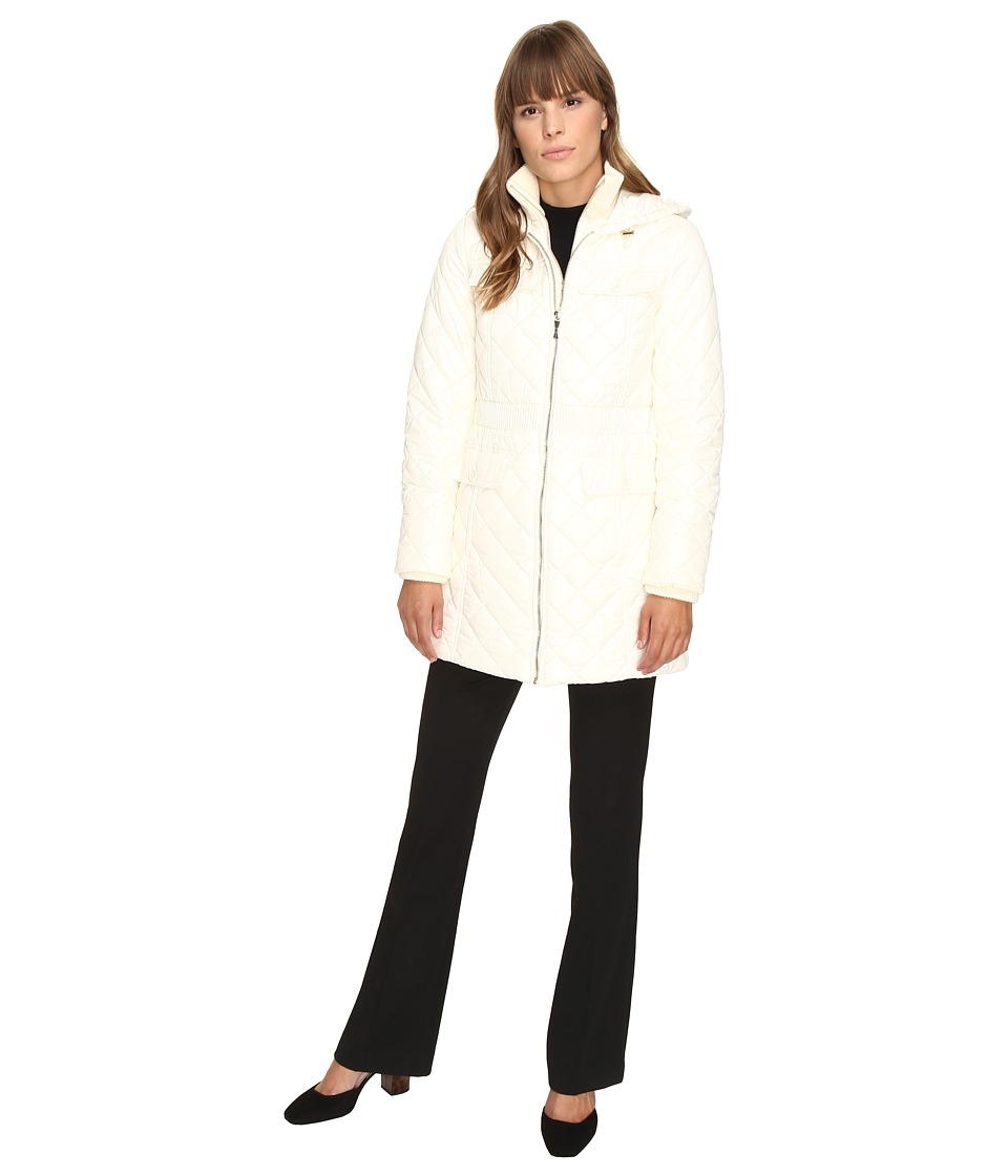 Kate Spade New York - Fitted Quilted 32 w/ Hood (Oyster) Women's Coat