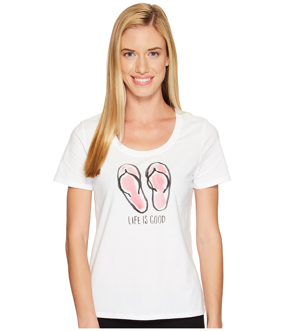 Life is Good - Flip Flops Snuggle Up Sleep Tee (Cloud White) Women's Pajama