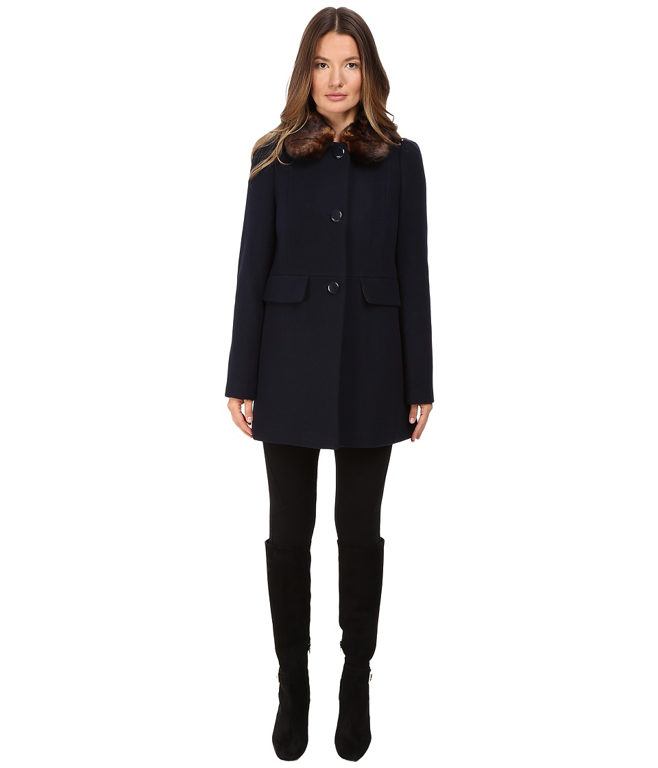 Kate Spade New York - Single Breasted Peacoat 30 (Deep Navy) Women's Coat