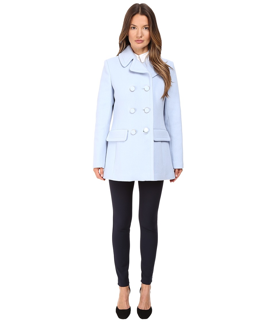 Kate Spade New York - Double Breasted Peacoat Bowback 30 (Pearl Blue) Women's Coat