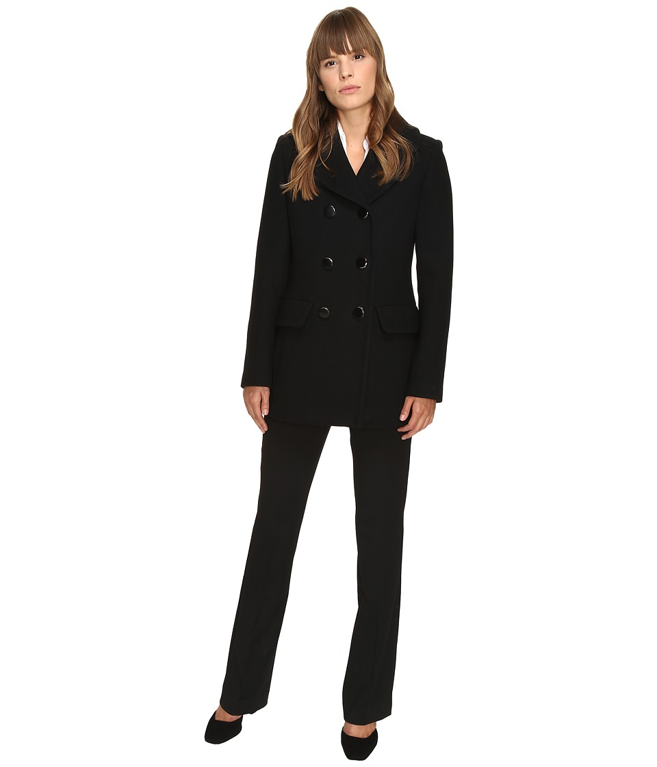 Kate Spade New York - Double Breasted Peacoat Bowback 30 (Black) Women's Coat