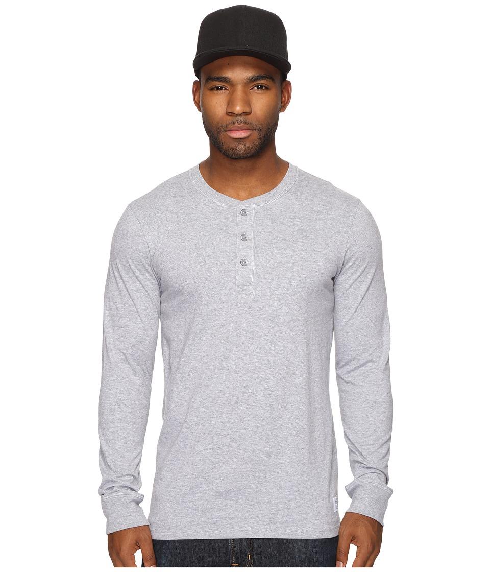 HUF - Thompson Long Sleeve Henley (Grey Heather) Men's Clothing
