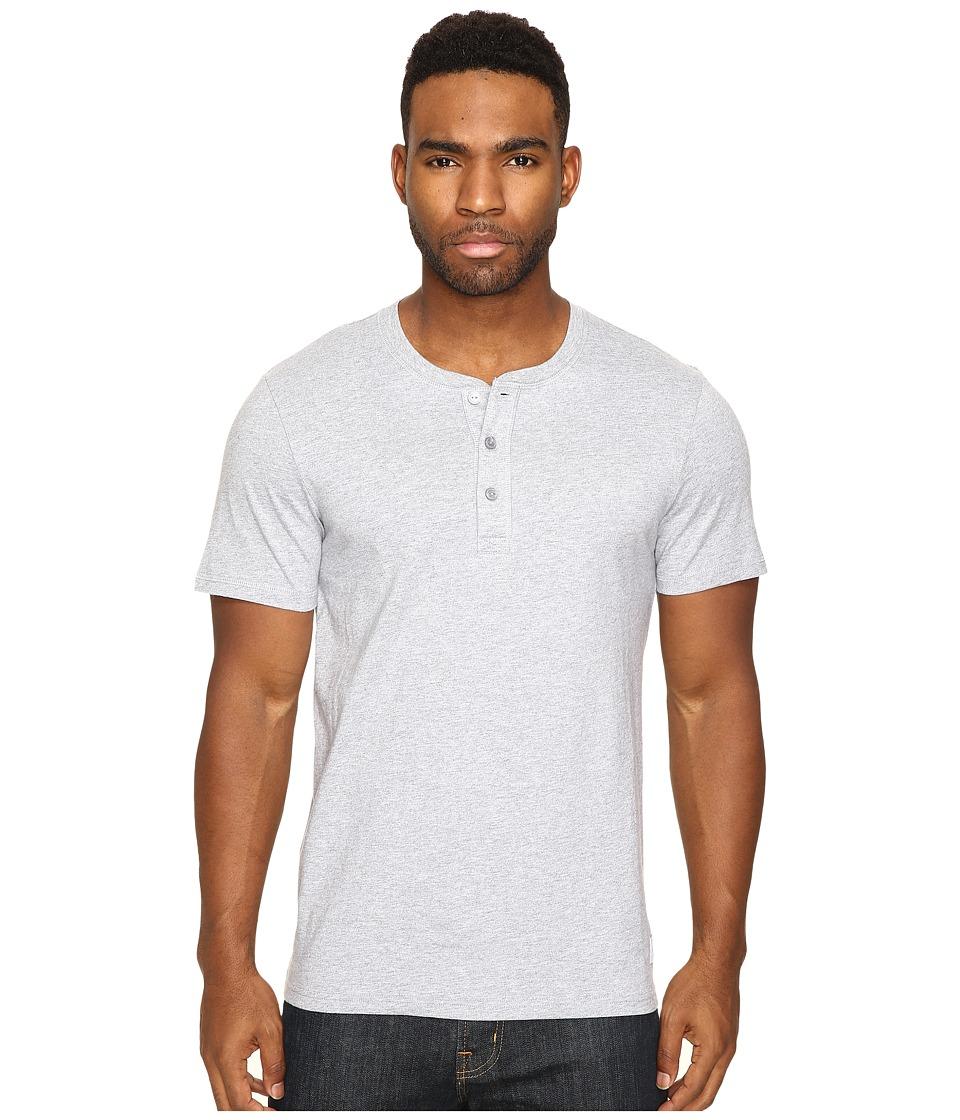 HUF - Thompson Short Sleeve Henley (Grey Heather) Men's Clothing