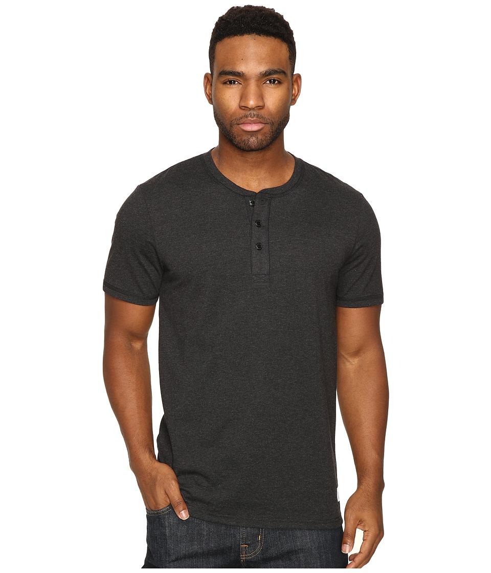HUF - Thompson Short Sleeve Henley (Black Heather) Men's Clothing