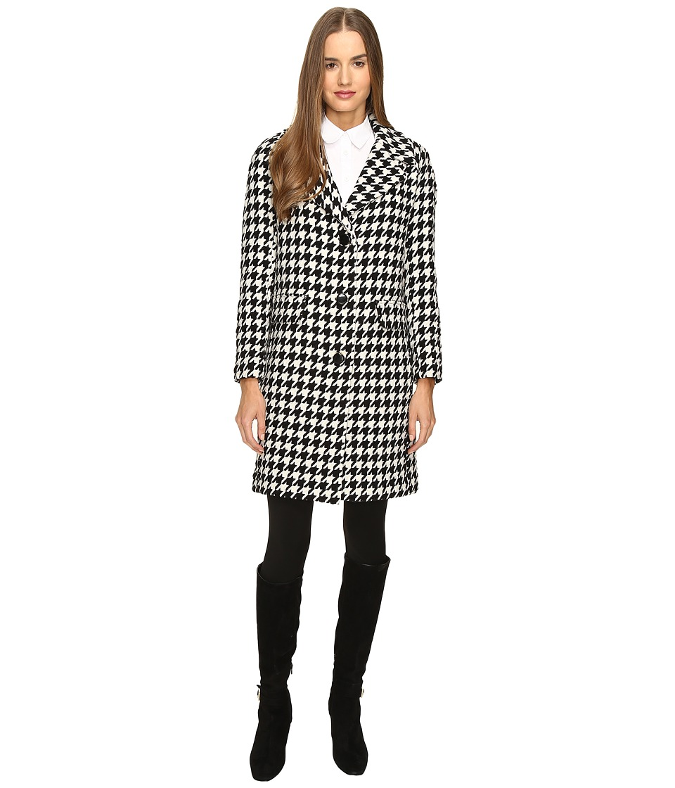 Kate Spade New York - Novelty Yard-Dyed Wool Coat 34 (Black/Cream) Women's Coat