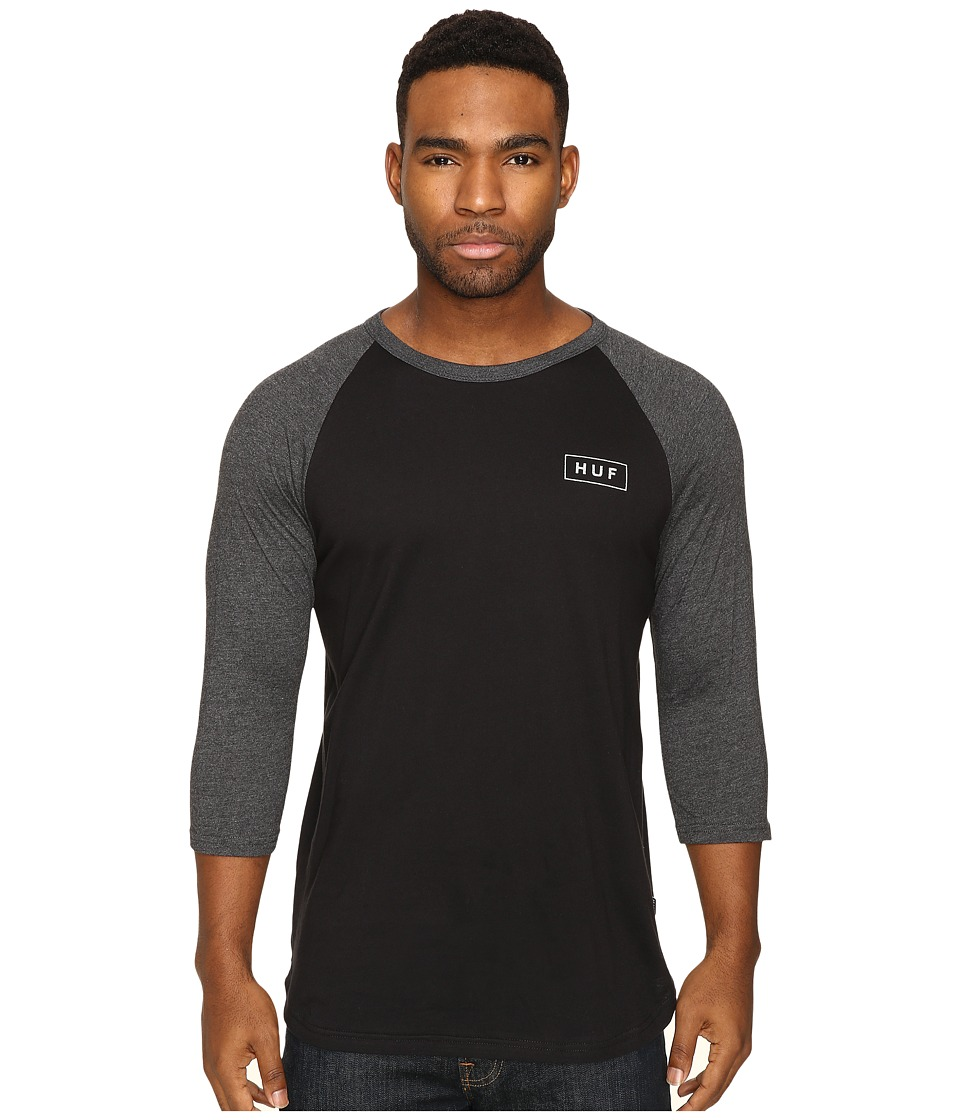 HUF - Reflective Bar Logo Raglan (Black/Black Heather) Men's Clothing