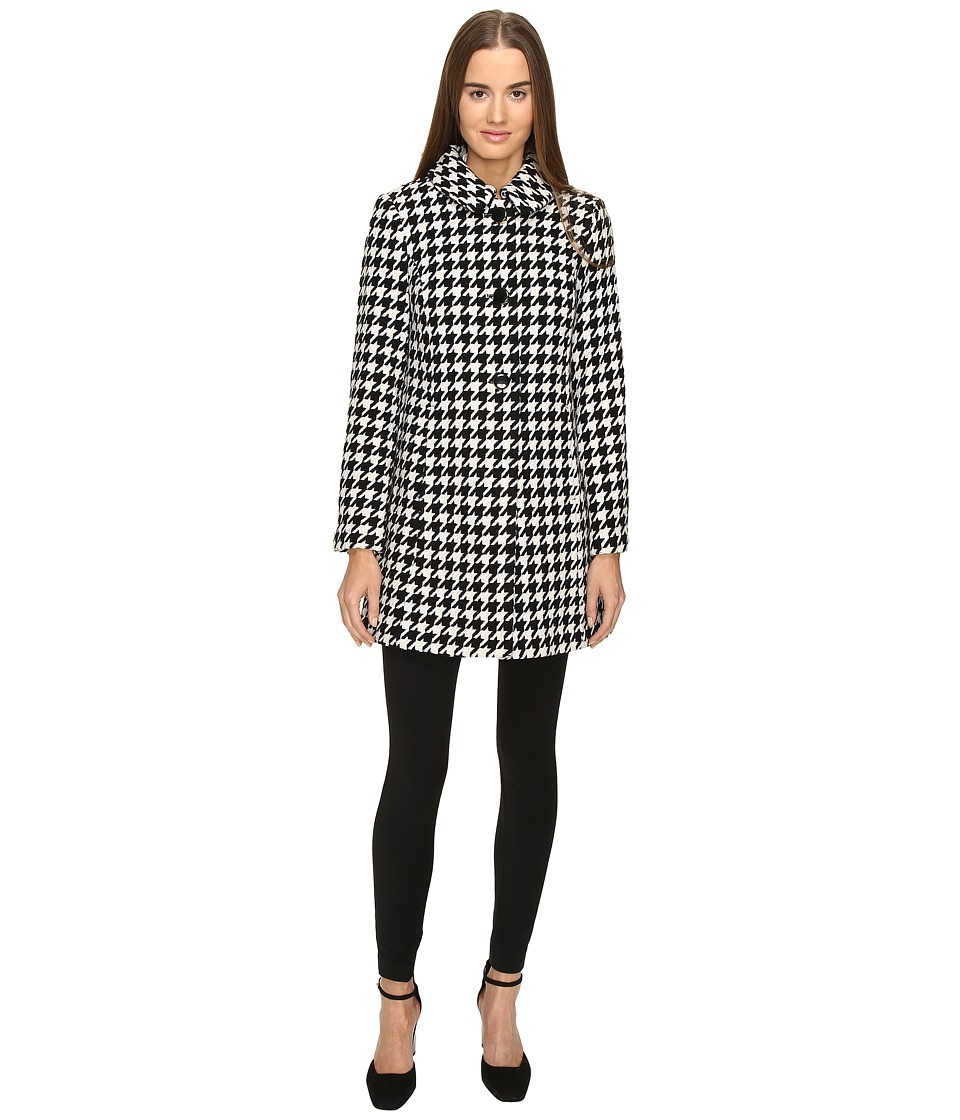Kate Spade New York - Double Breasted Check Peacoat (Black/Cream) Women's Coat