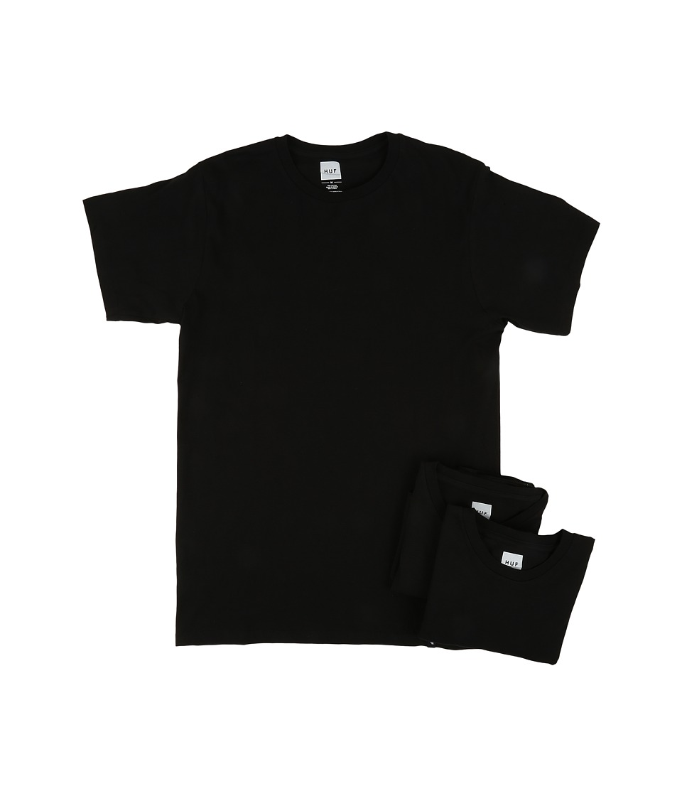 HUF - 3-Pack Tees (Black) Men's T Shirt