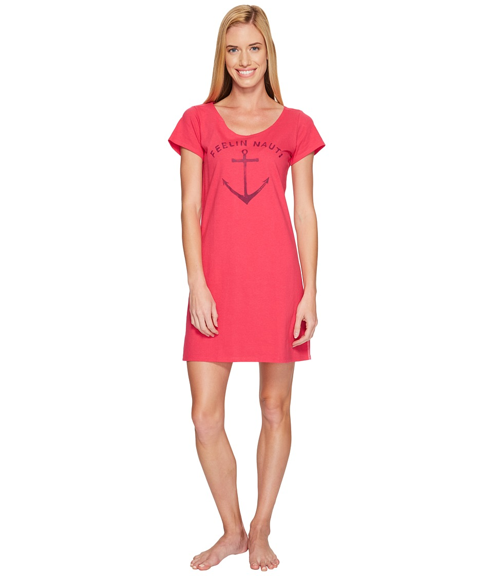 Life is Good - Feelin Nauti Sleep Tee Dress (Pop Pink) Women's Pajama