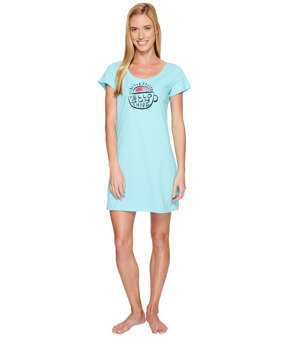 Life is Good - Hello Sunshine Sleep Tee Dress (Fresh Blue) Women's Pajama