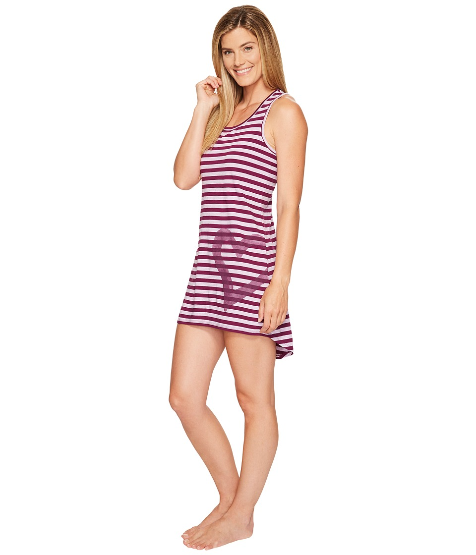 Life is Good - Heart Tank Sleep Dress (Dusty Orchid/Deep Plumb Stripe) Women's Pajama