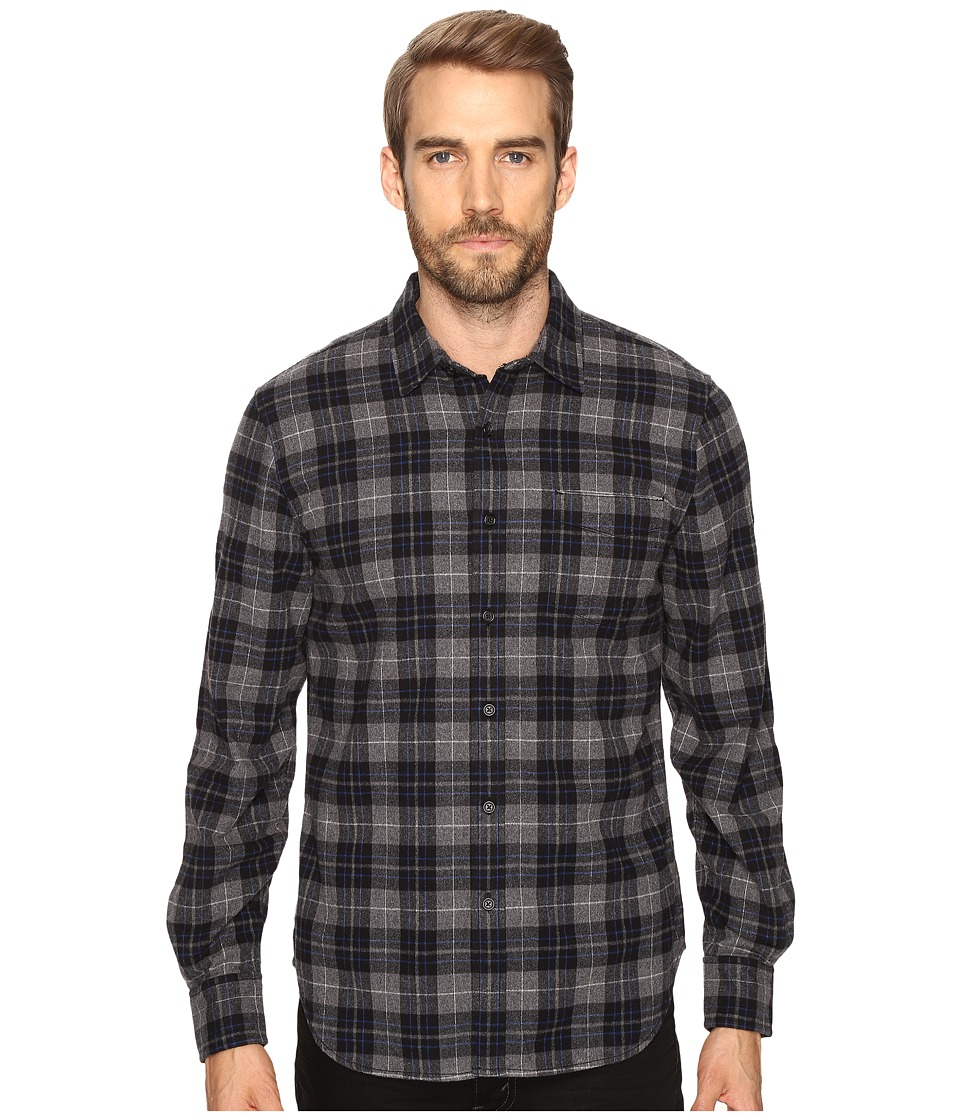 Joe's Jeans - Relaxed Single Pocket Flanel Shirt (Grey/Black Plaid) Men's Long Sleeve Button Up