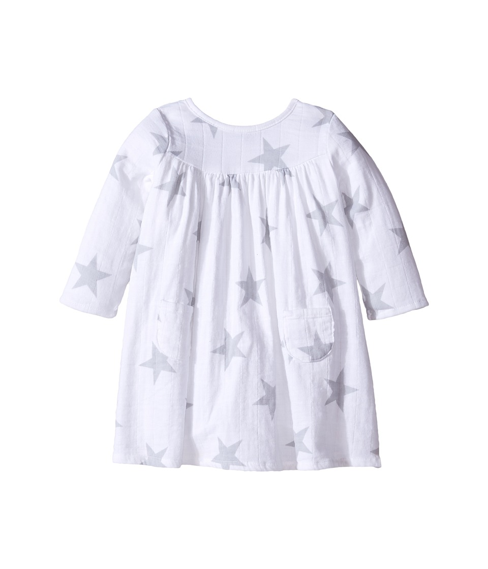 aden + anais - Long Sleeve Pocket Dress (Infant) (Micro Chip Star) Kid's Dress