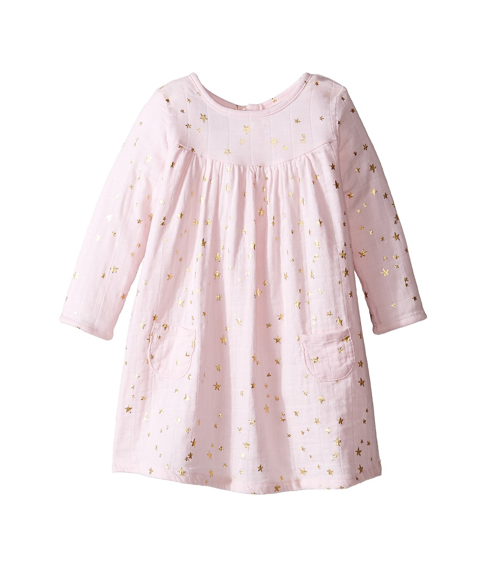 aden + anais - Long Sleeve Pocket Dress (Infant) (Metallic Primrose/Starburst) Girl's Dress