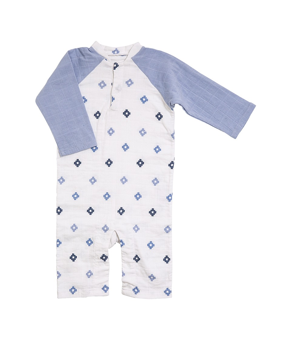 aden + anais - Long Sleeve Henley One-Piece (Infant) (Blue Aztec) Boy's Jumpsuit & Rompers One Piece