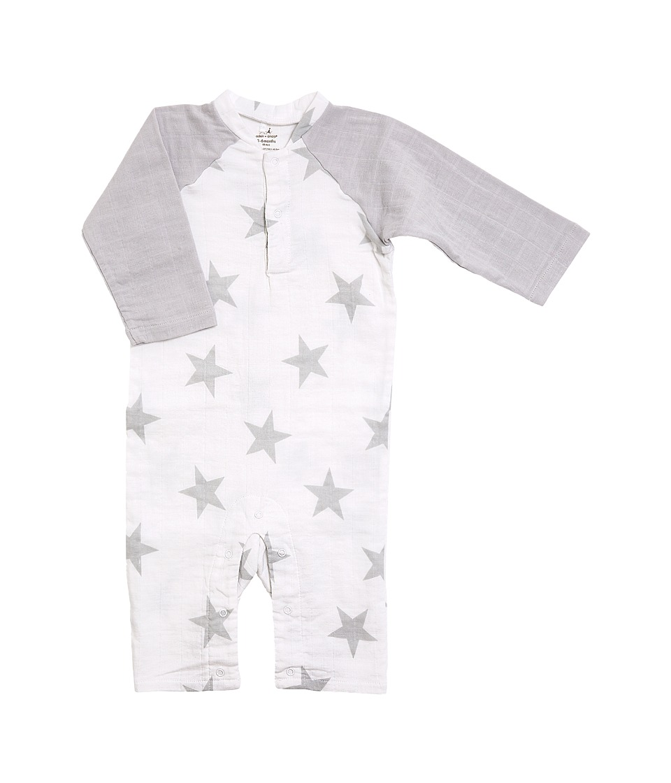 aden + anais - Long Sleeve Henley One-Piece (Infant) (Micro Chip Star) Kid's Jumpsuit & Rompers One Piece
