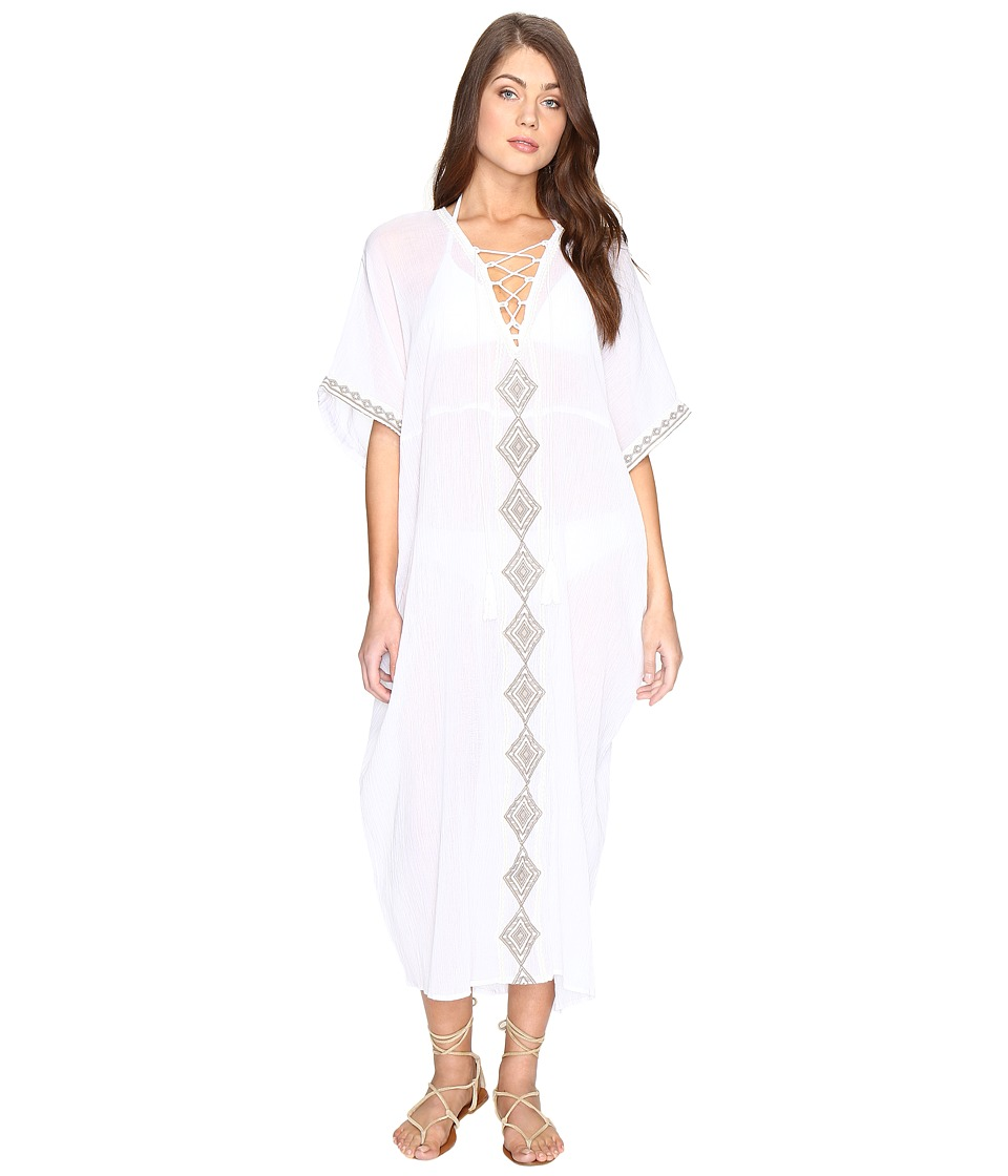 Vitamin A Swimwear Isabell Long Caftan Cover-Up (Windswept Embroidered Gauze) Women