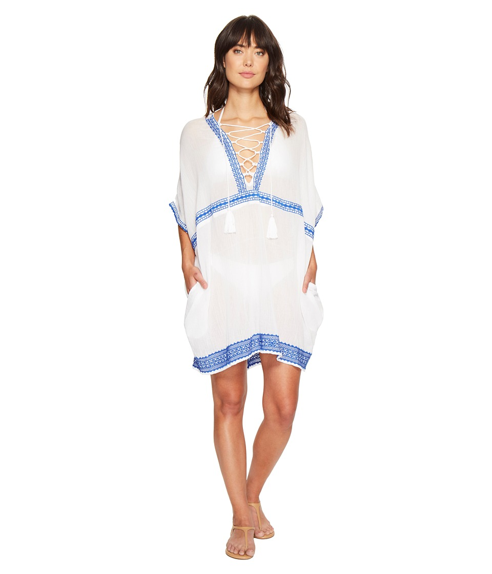 Vitamin A Swimwear Isabell Short Caftan Cover-Up (Trade Winds Embroidered Gauze) Women