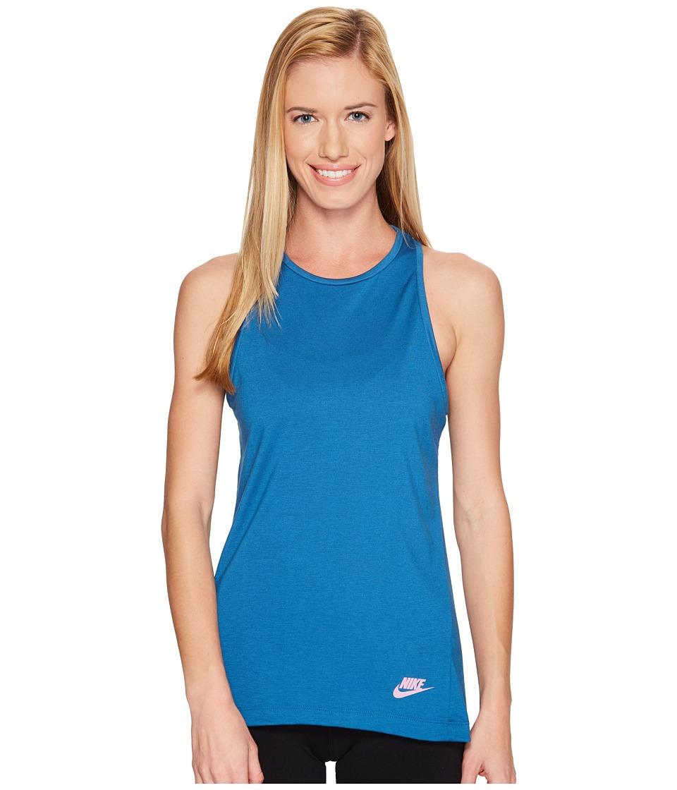 Nike - Sportswear Essential Tank Top (Industrial Blue/Industrial Blue/Orchid) Women's Sleeveless