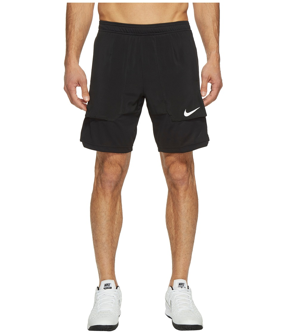 Nike - Court Dry 9 Tennis Short (Black/White) Men's Shorts
