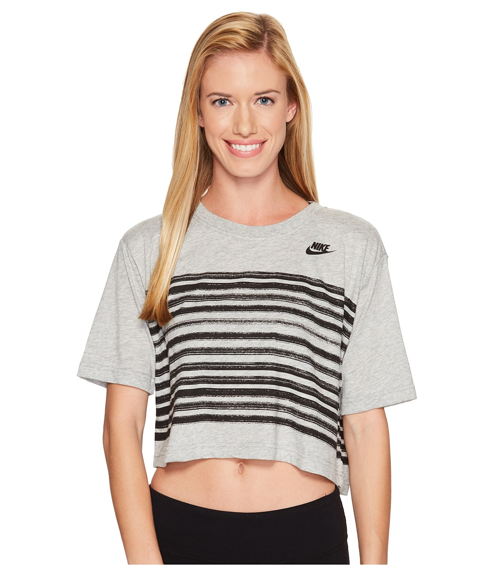 Nike - Sportswear Stripe Short Sleeve Top (Dark Grey Heather/Sunset Glow) Women's Clothing