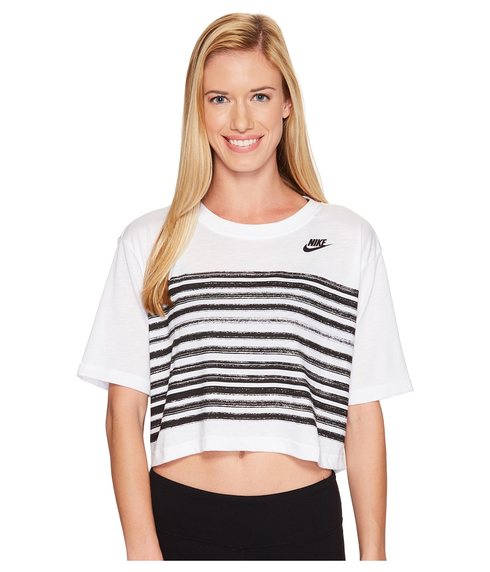 Nike - Sportswear Stripe Short Sleeve Top (White/Black) Women's Clothing
