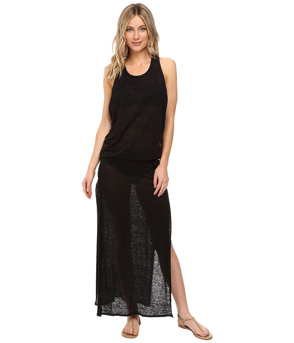 Vitamin A Swimwear Island Maxi Cover-Up (Eco Linen Black) Women