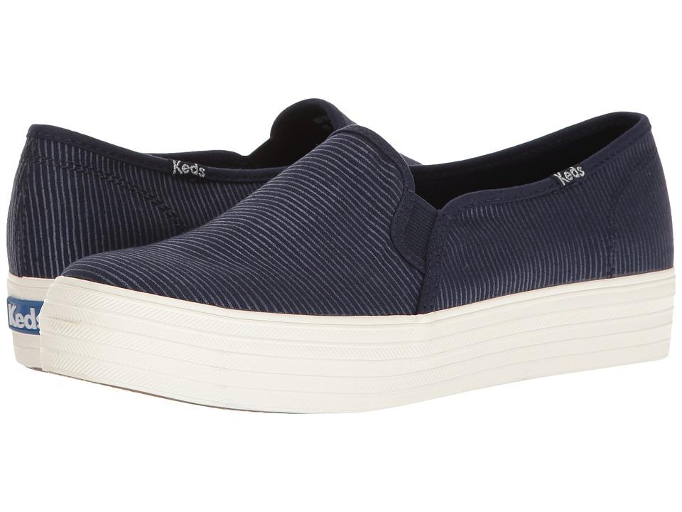 Keds - Triple Decker Metallic Stripe (Navy) Women's Shoes