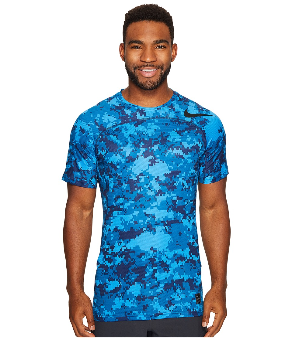Nike - Pro Hypercool Short Sleeve Training Top (Industrial Blue/Light Photo Blue/Black) Men's Clothing